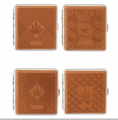 Marijuana Leaf Faux Leather Brown Cigarette Case for Regular Size Cigarettes<!-- Click to Enlarge-->