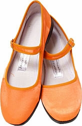 Mary Jane Cotton China Doll Slippers (Orange)