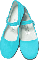 Mary Jane Cotton China Doll Slippers (Turquoise)