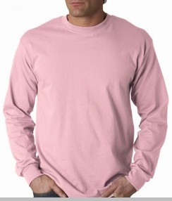 Mens Premium Long Sleeve T-Shirt (Light Pink)