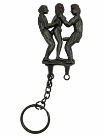 Metal Moving Threesome Funny Keychain