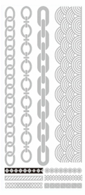 Metallic Flash Tattoos - Silver Link Shapes