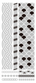 Metallic Flash Tattoos - Silver Scale Tribal