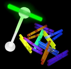 Tongue Body Jewelry - Micro Glow Stick Illuminating Barbell