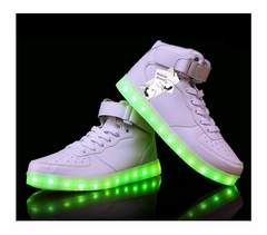 Mid-Top LED Sneakers - Deluxe Rechargeable LED Light-Up Sneakers (White)
