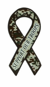 Mini Camo Support Our Troops Ribbon Magnet