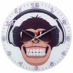 Monkey Wearing Headphones Analog Wall Clock