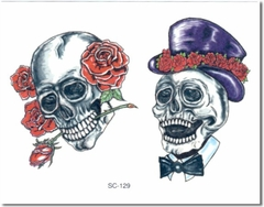 Mr & Mrs Skull Temporary Tattoo
