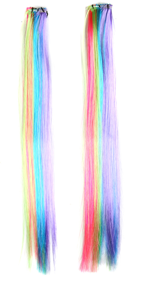 Multi color neon clip on hair extensions 2 pack pmusecretfo Image collections
