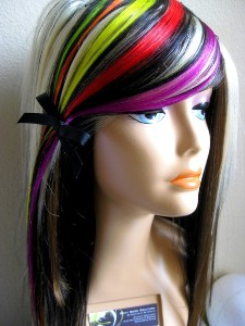 Multi color neon clip on hair extensions 2 pack pmusecretfo Images