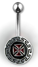 Navel Body Jewelry - Navel Ring w/ Red Iron Cross