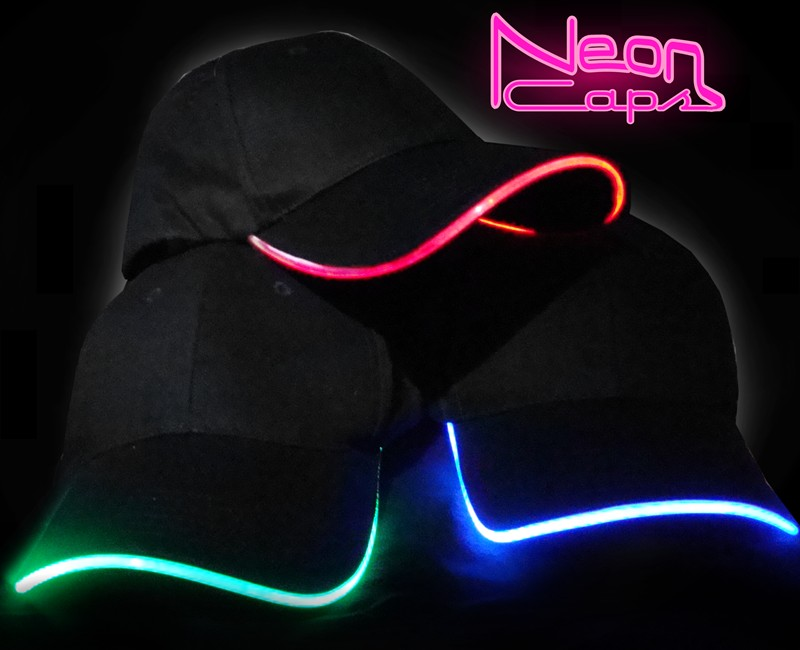 baseball cap led lights neon glow light hat caps built with in brim uk