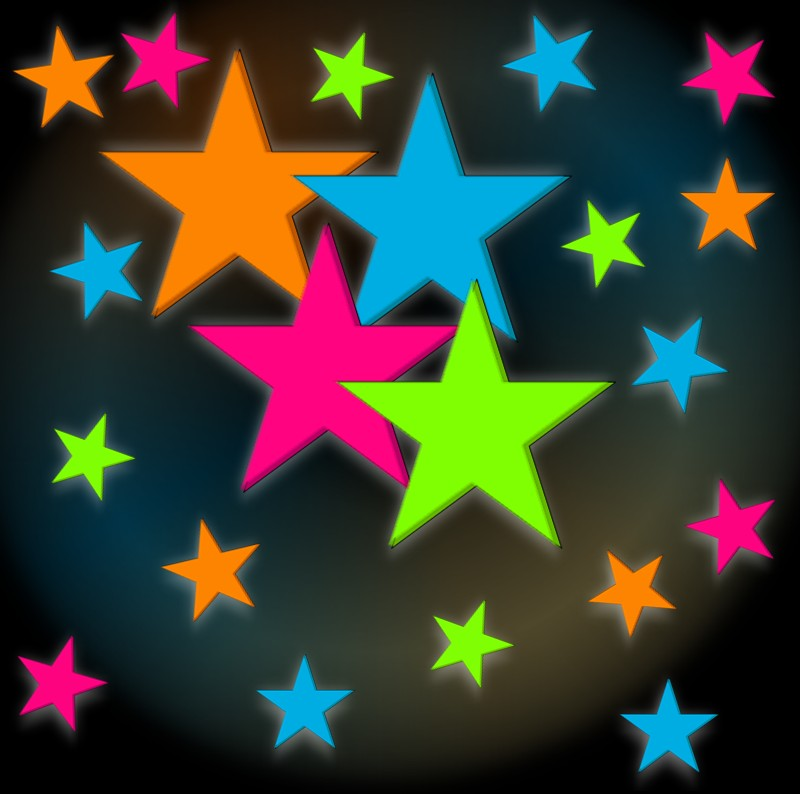 Neon stars blacklight reactive wall decorations 24 pack - Stars for walls decorating ...