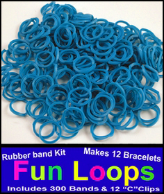 Blue Rubberband Looms - 300 Fun Loop Pieces