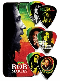 Official Bob Marley Heavy Dunlop Tortex Guitar (6 Pack with Bob Marley Tin Case)