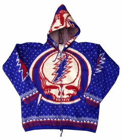 Official Grateful Dead Steal Your Face Fleece Adult Hooded Zip Up Sweatshirt (Blue)