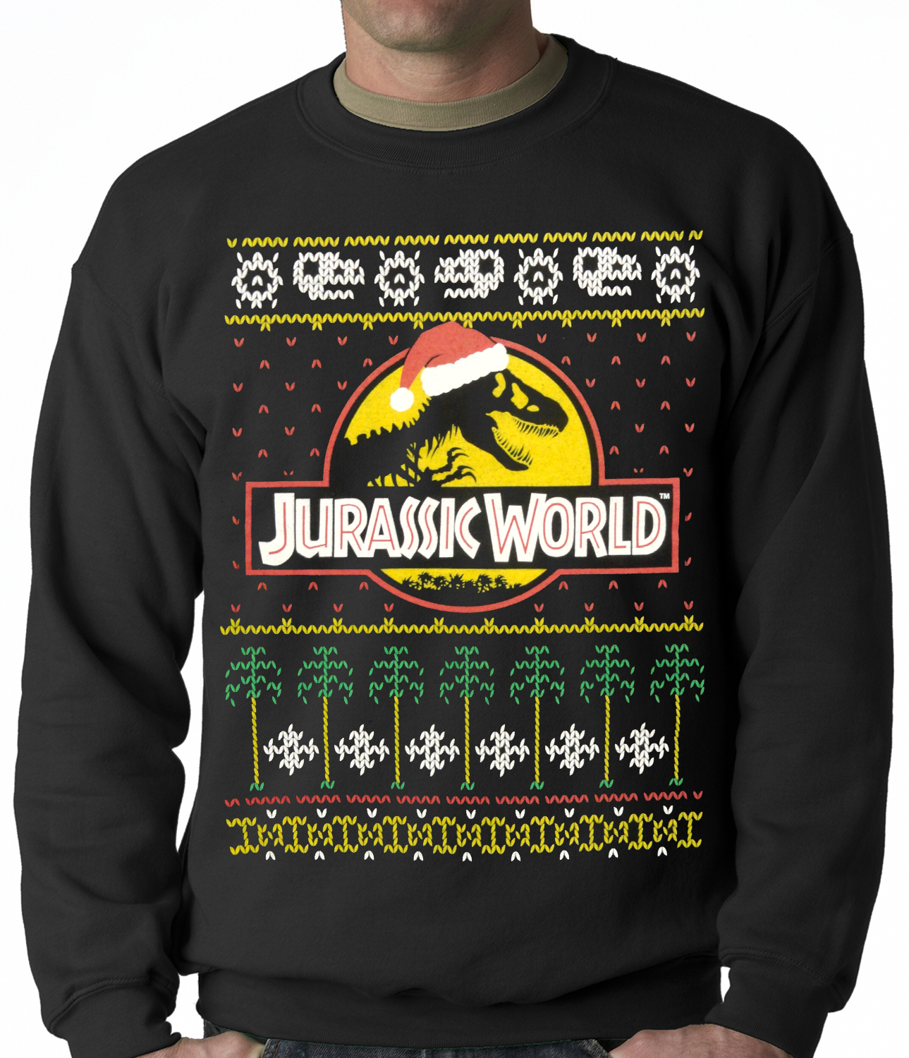 Official Jurassic World Ugly Christmas Sweater Adult Crewneck