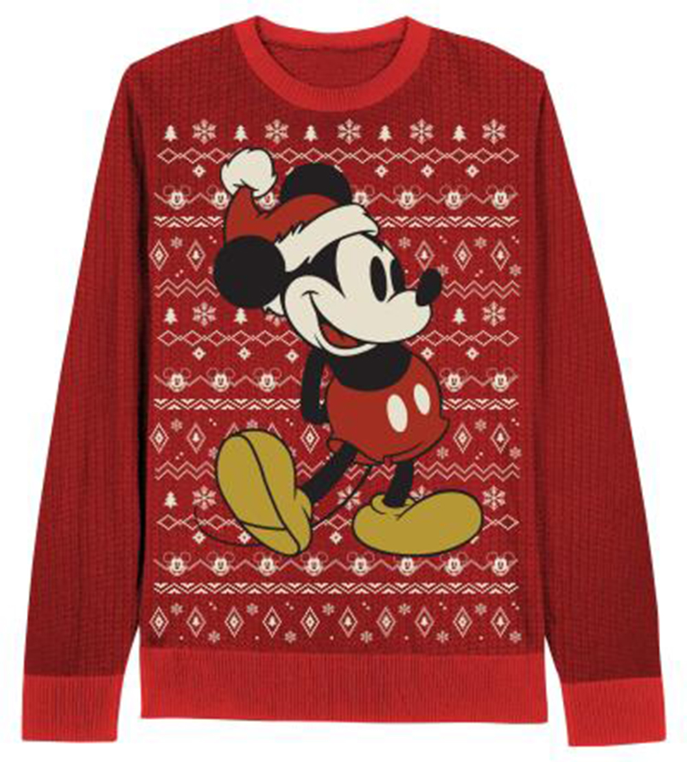 Official mickey mouse all over holiday sweater for Over the top ugly christmas sweaters