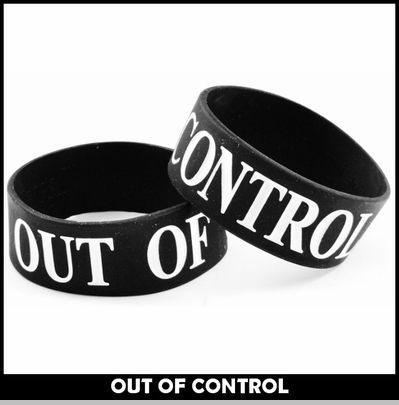 Out of Control Designer Rubber Saying Bracelet<!-- Click to Enlarge-->