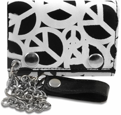 Peace Signs All Over Genuine Leather Chain Wallet