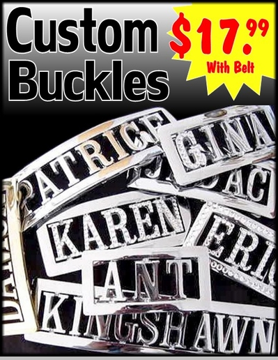 Personalized Custom Name Belt Buckle with Free Belt<!-- Click to Enlarge-->