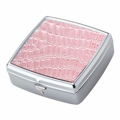 Pink Croc Pattern Iron Chrome Plated Square Shaped 2 Compartment Pill Box