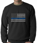 Police Thin Blue Line American Flag - Support Police Department Horizontal Crewneck Sweatshirt
