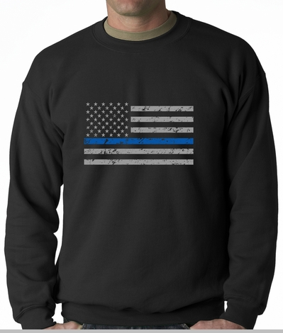Police Thin Blue Line American Flag - Support Police Department Horizontal Crewneck Sweatshirt<!-- Click to Enlarge-->