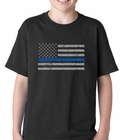 Police Thin Blue Line American Flag - Support Police Department Horizontal Kids T-shirt