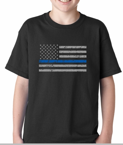 Police Thin Blue Line American Flag - Support Police Department Horizontal Kids T-shirt<!-- Click to Enlarge-->