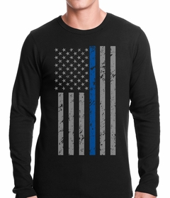 Police Thin Blue Line American Flag - Support Police Department Thermal Shirt