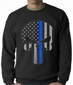 Police Thin Blue Line Skull American Flag - Support Police Department Adult Crewneck