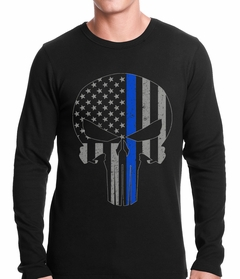 Police Thin Blue Line Skull American Flag - Support Police Department Thermal Shirt
