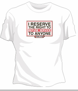 """Porn Star """"Refuse Service"""" Girls T-Shirt<!-- Click to Enlarge-->"""