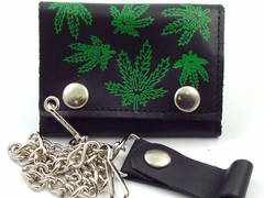 Pot Leaf Genuine Leather Chain Wallet