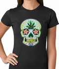 Pot Leaf Sugar Skull Ladies T-shirt