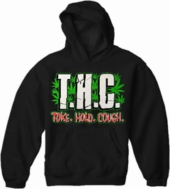 Pothead & Stoner Sweatshirts - THC Toke Hold Cough Hoodie