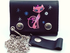 Pretty Pink Kitty Genuine Leather Chain Wallet