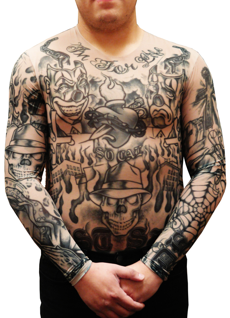 men 39 s full body tattoo shirt prison ink full body tattoo shirt. Black Bedroom Furniture Sets. Home Design Ideas