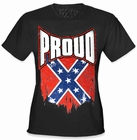 Proud Distressed Confederate Flag Girl's T- Shirt (Black)