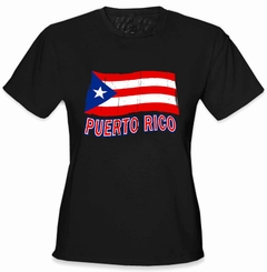 Puerto Rico Vintage Waving Flag Girl's T-Shirt