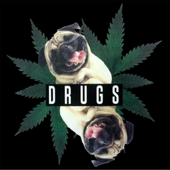 Pugs and Drugs Pot Leaf Mens T-shirt