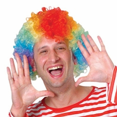Rainbow Afro Costume Clown Wig