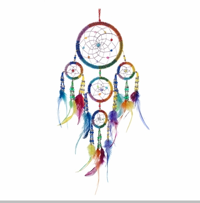 Large Rainbow Beaded Dream Catcher<!-- Click to Enlarge-->