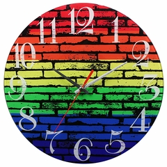 Rainbow Bricks Analog Wall Clock