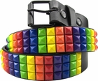 Rainbow Pride Pyramid Studded Leather  Belt
