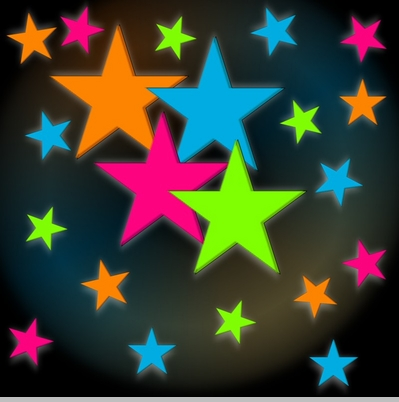 Rainbow Stars Glow in the Dark Wall Decorations (24 pack)<!-- Click to Enlarge-->