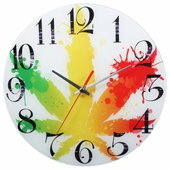 Rasta Pot Leaf Analog Wall Clock