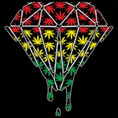 Rasta Pot Leaf Diamond Mens T-shirt