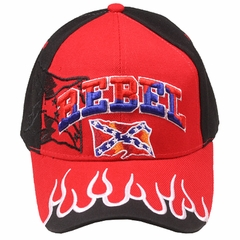 Rebel Cofederate Flag Embroidered With Flames Hat (Assorted)
